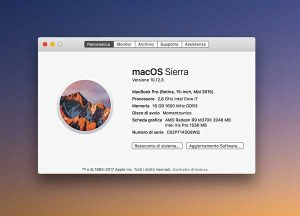schermata info del macbook pro 2015